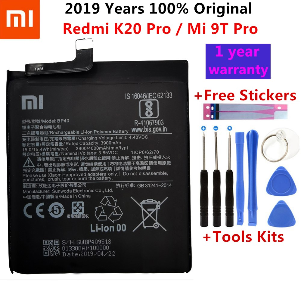 100% Original Battery For Xiaomi Redmi K20 Pro / Mi 9T Pro 3900mAh BP40 Replacement Li-ion Polymer Phone Battery Repair Parts
