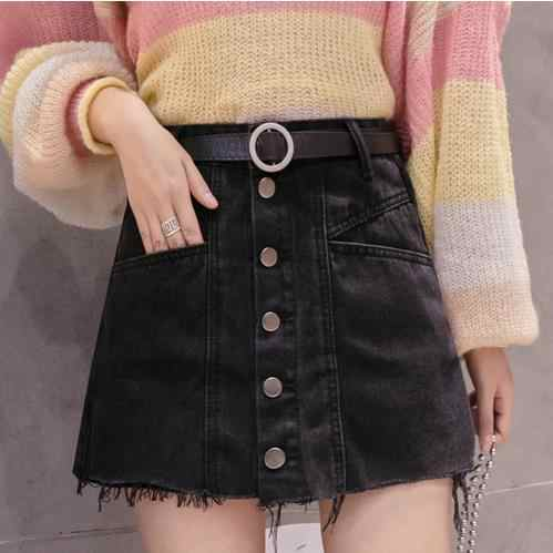 Summer Denim Shorts Skirts Women High Waist Short Jeans Feminino Korean Women Black Blue Shorts Female Hem Frayed Short Mujer LJ