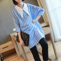 Shirts Female 2019 Autumn New Korean Women's Fashion Doll Collar Long Sleeve Chiffon Loose Striped Shirt Top And Blouse f2138