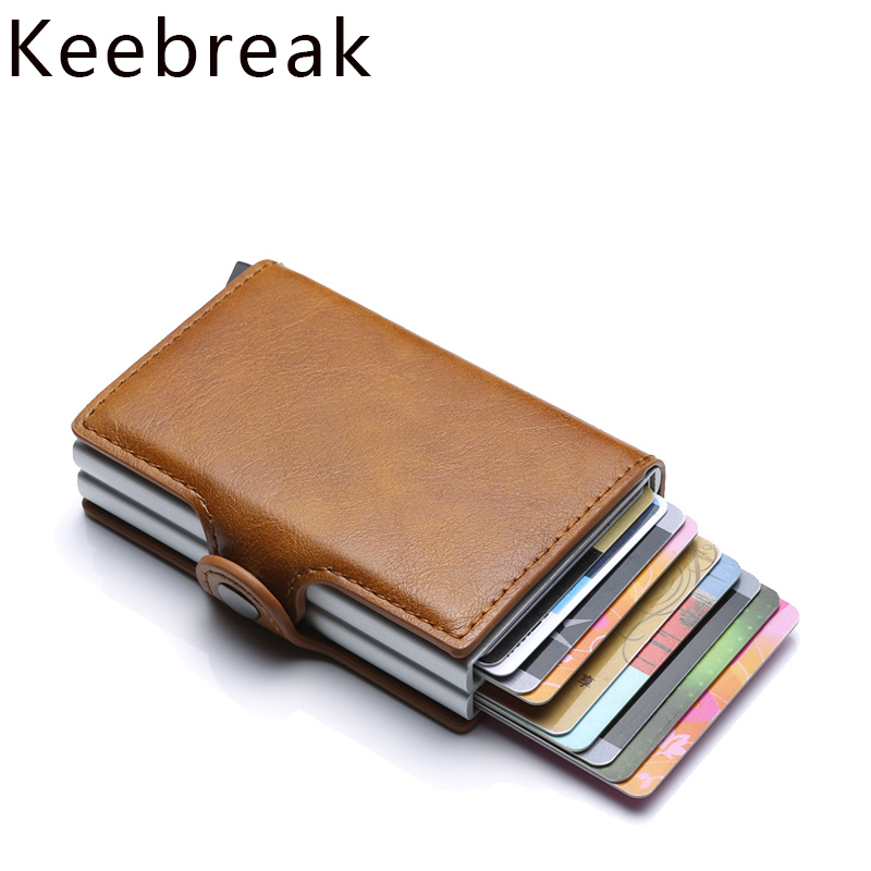 Rfid Wallets Men Money Bag Thin Mini Purse Male Metal Aluminium Card Wallet Small Smart Wallet Leather Double Vallet Pocket Man