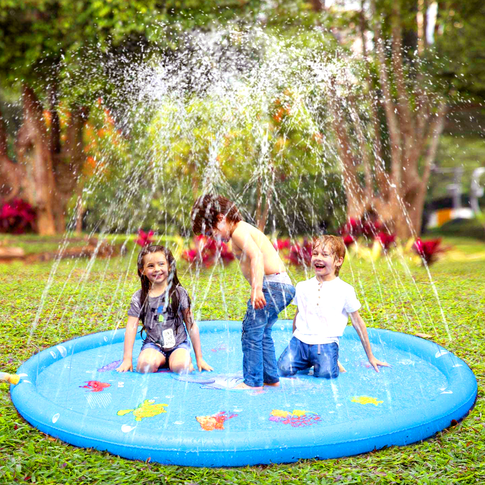 170cm Outdoor Lawn Beach Sea Animal Inflatable Water Spray Kids Sprinkler Play Pad Mat Water Games Beach Mat Cushion Toys