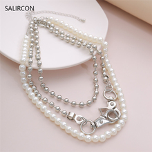 Salircon Punk Imitation Pearl Choker Necklaces Gothic Multi Layer Beads Chain Chunky Necklace Collier For Women Men Jewelry Gift gothic baroque pearl bead pendant choker necklace for women wedding multi layer punk white pearls chain necklace charm jewelry