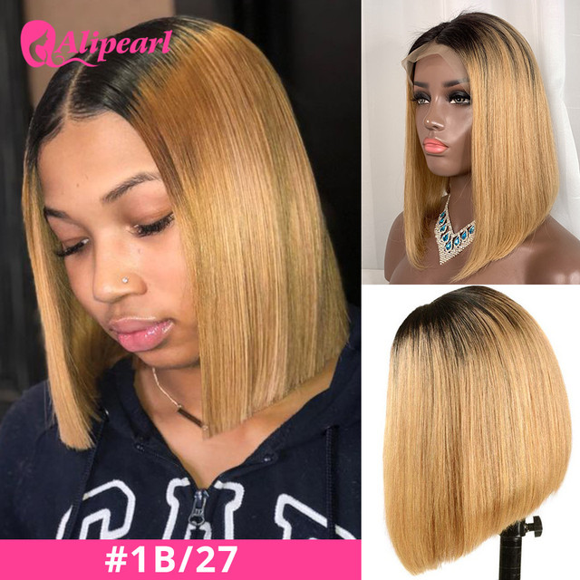AliPearl Hair Wig 1B/99J 13x4 Short Bob Wigs Straight Lace Front Human Hair Wigs 1B/27 Brazilian Colored Bob Wigs Pre Plucked |Human Hair Lace Wigs|   -