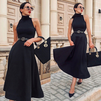 Elegant Women Outfits Black Dress Classic Dress Solid Color Dress Sleeveless Dress Off The Shoulder Clothing For Ladies  D30 off the shoulder mini dress in black