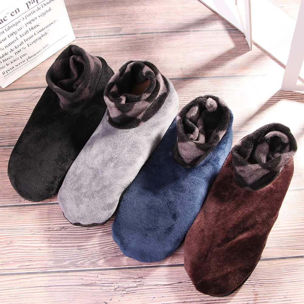 Women Men Winter Warm Thicken Home Bed Socks Fashion Pure Color Non Slip Short Socks Elastic Floor Slipper Polyester Socks