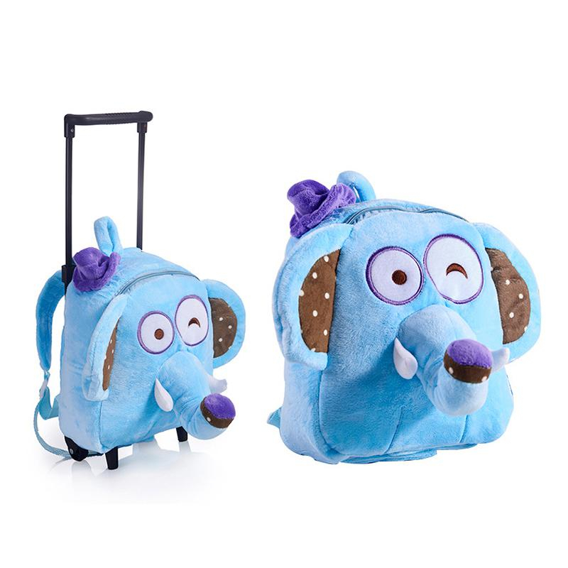Baby Girl's Plush Cartoon School Bags Boy's Detachable Trolley Rolling Wheels Preschool Backpack Children Cartoon Toddler Bag