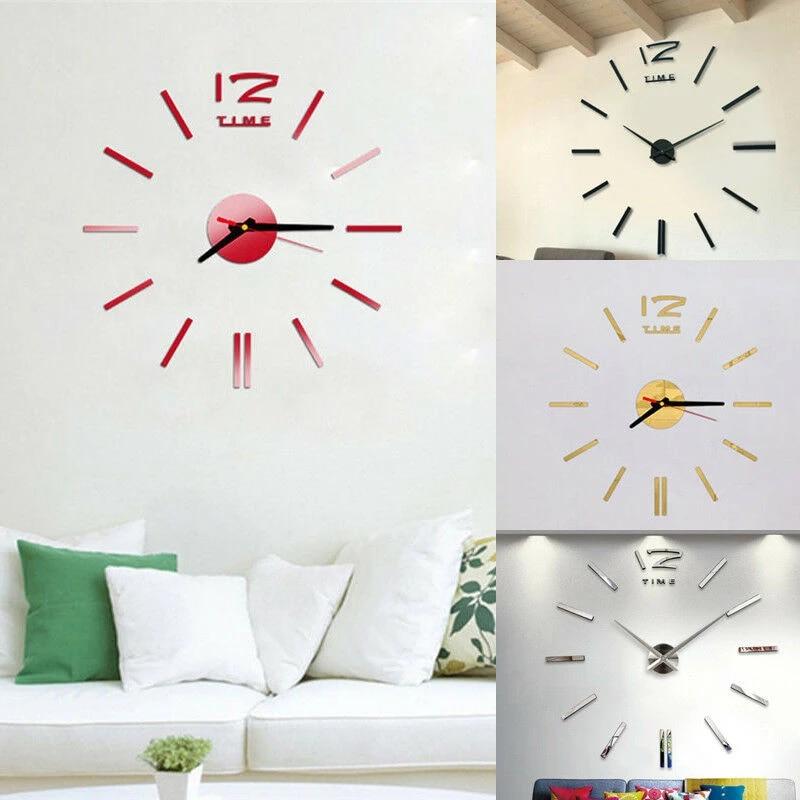 Modern DIY Large Number Wall Clock 3D Mirror Surface Sticker Home Decor