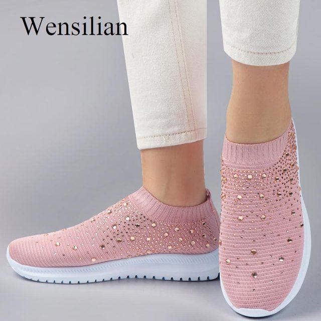 Vulcanizado sapatos tênis feminino formadores tênis de malha senhoras deslizamento-na meia sapatos de cristal sparkly zapatillas mujer casual 1