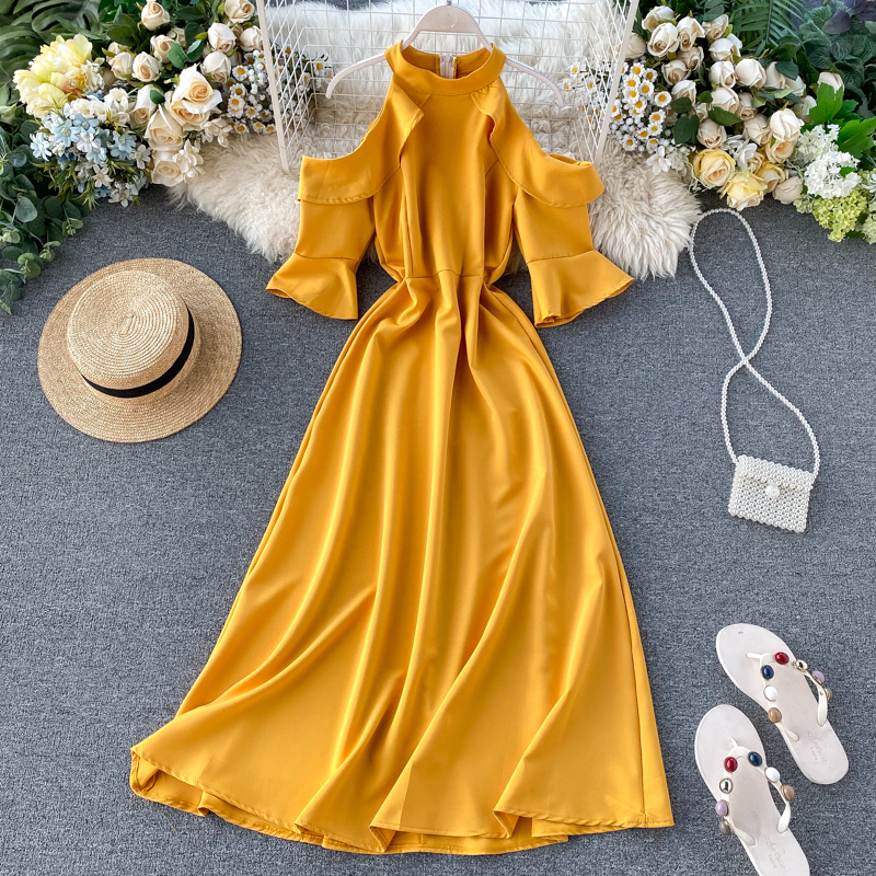 Slim Ruffles 2020 Halter Neck Sexy Off Shoulder Dress Spring Vestido De Festa Summer Midi Long Party Women Casual Elegant Dress