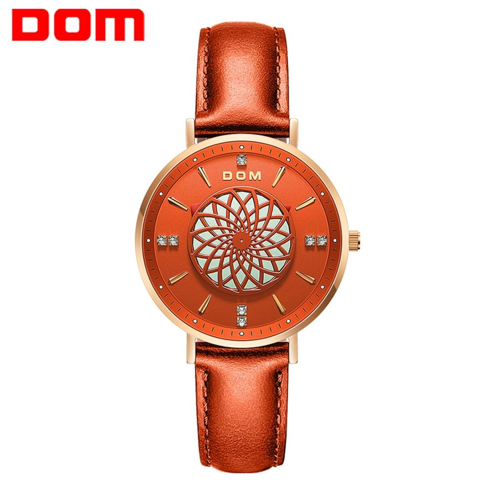 New Women Watches DOM Luxury Brand Ladies Dress Wristwatch Waterproof Leather Elgent Orange Women Clock Montre Femme G-1285GL