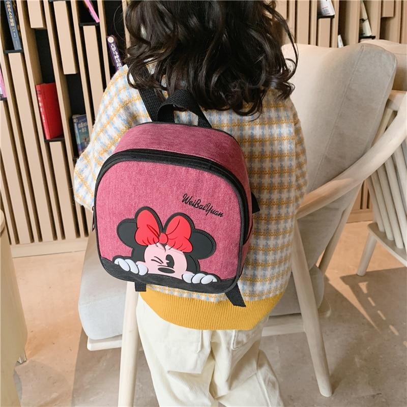 Disney Mickey Minnie Backpack Children's Backpack Girl Cartoon Kindergarten Small School Bag Cute Kids Canvas Backpack Storage B