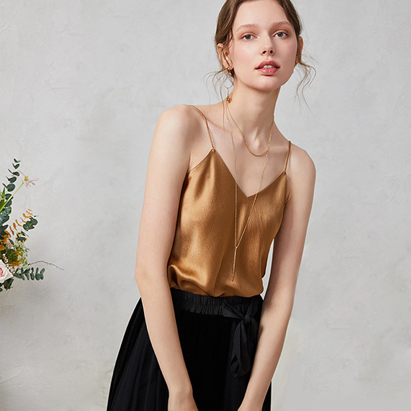 100% Silk Tank Top Women High Quality Fabric Shoulder Strap V Neck Slim Solid 2 Colors Casual Basic Clothing Fashion