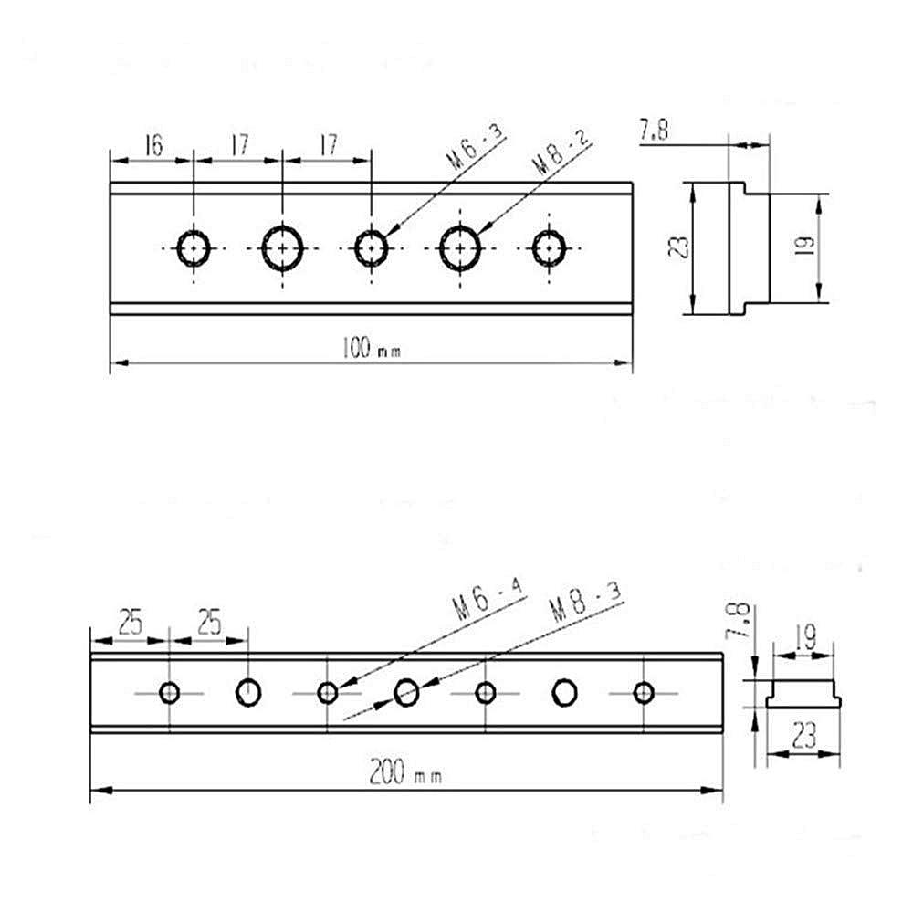 M6/m8 100 мм Т образный слот скользящая плита скользящий блок