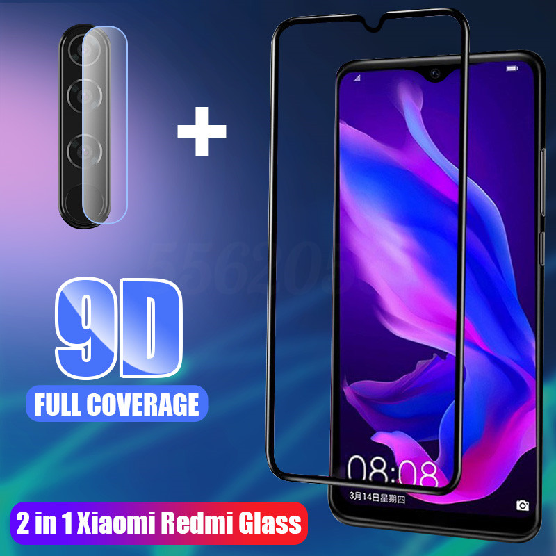 2 in 1 9H Full Cover Tempered Glass For Xiaomi Redmi 7 8 7A 8A Screen Protector Protective Glass For Redmi Note 7 8 pro 8T Film(China)