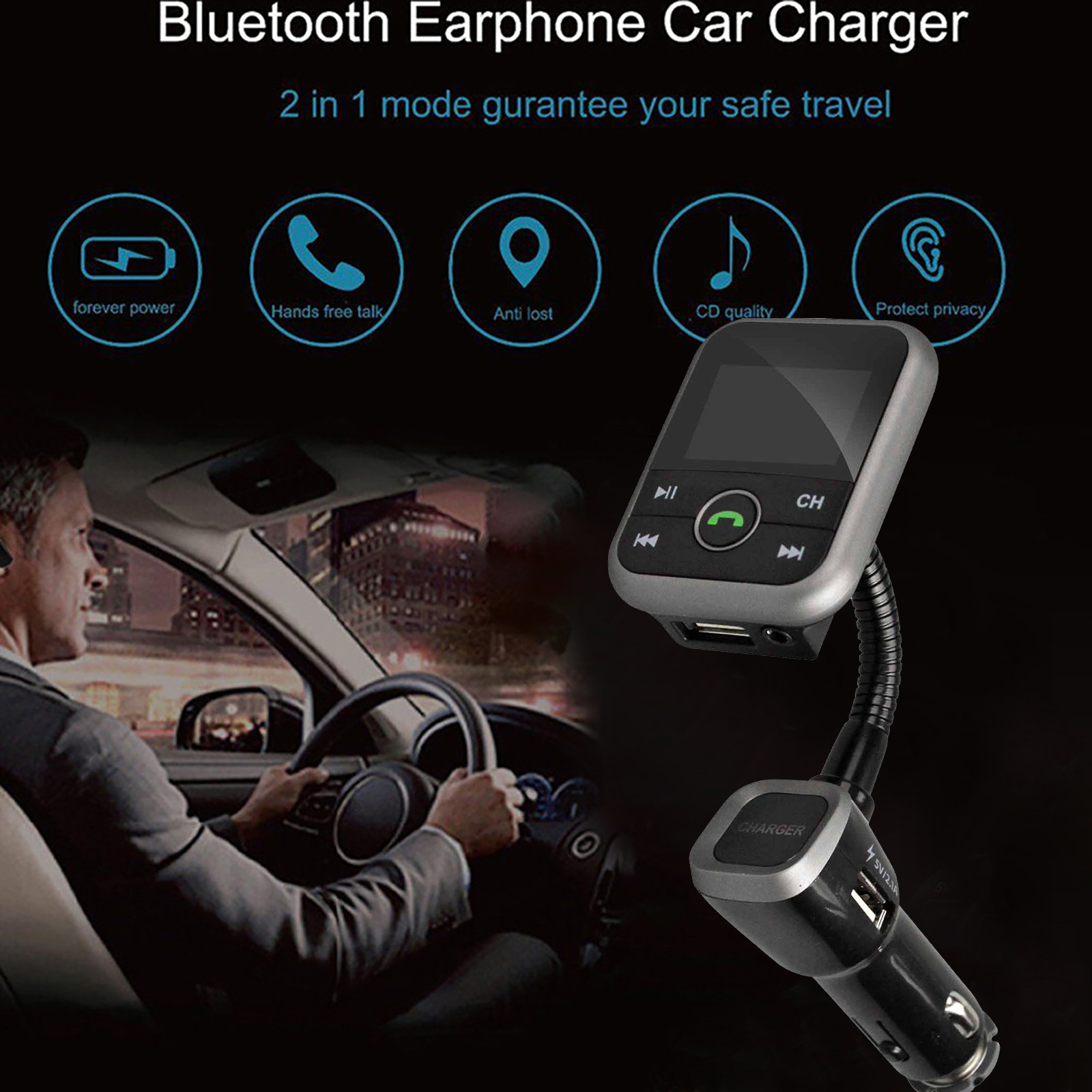 BT67 Bluetooth Handsfree Car Kit With FM Transmitter And 2USB  5V 2.1A Charger Mp3 play Aux In  SD Card  For IOS Android Phone