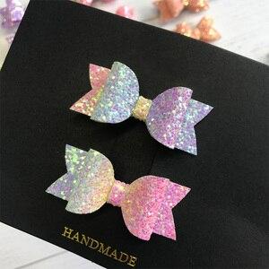 2pcs Handmade Mini Sequins Litlle Girls Hair Bows Clips Shiny Glitter Cute Hairpins Daily School Barrettes Headwear Accessoires