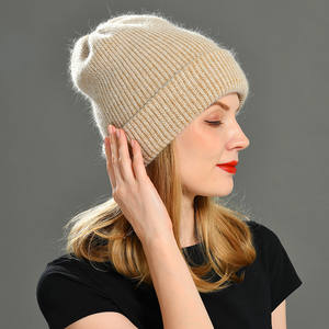 Winter Hat Wool Rabbit-Cashmere Warm Female Thick Women Ladies for Knitted Beanies Vogue