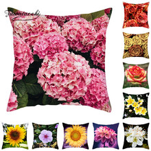 Fuwatacchi Flower Plant Cushion Cover Daisies Floral Throw Pillowcases for Home Sofa Living Room Decorative Pillow Covers fuwatacchi floral cushion cover feather leaves gold pillow cover for decor sofa chair square decorative pillowcases