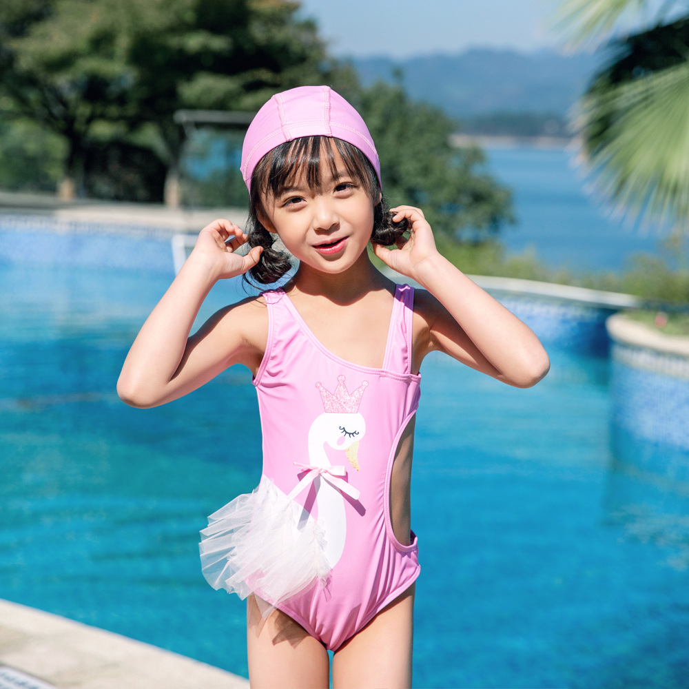 2019 New Style CHILDREN'S Swimsuit Sun-resistant Girls Swan One-piece Swimming Suit INS Cartoon Baby Swim Bathing Suit One's