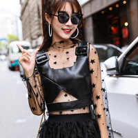 2020 Spring autumn Women's high quality genuine leather tank tops tank tops femal vest sexy women crop top B651