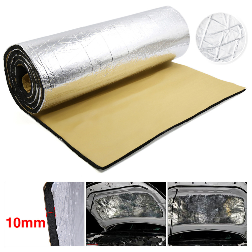1PCS 10mm Car Truck Firewall Heat Sound Insulation Mat Sound Noise Insulation Heat Sound Thermal Proofing Pads 50 200cm Auto