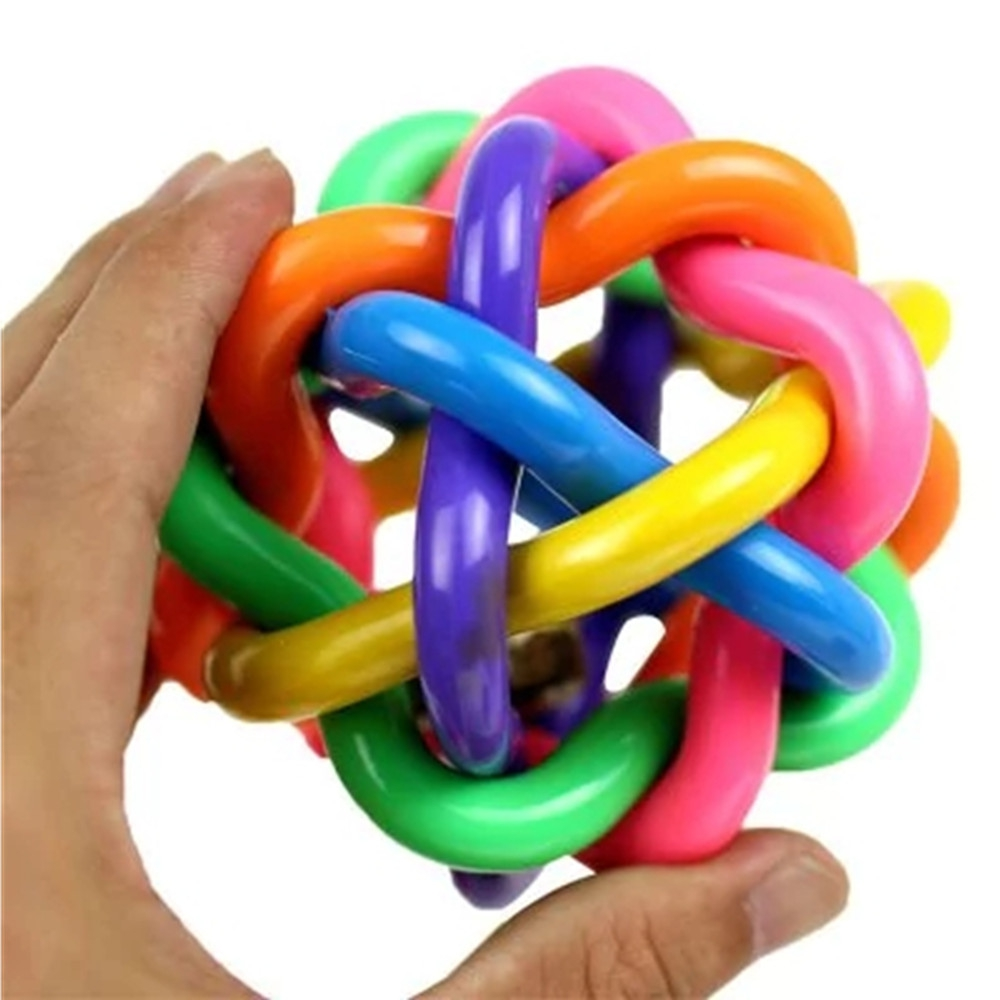 Высокое Качество Радужный шар с колокольчиком для домашних собак жевательный игрушки