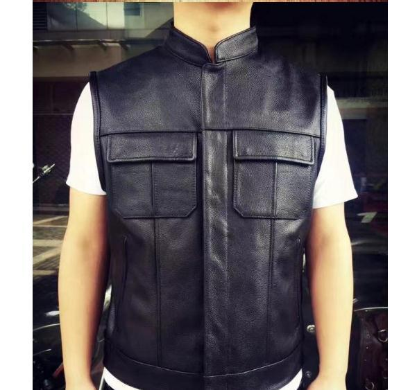 Free Shipping,Brand New Style Cowhide Vest.100% Genuine Leather Men Slim Vest.motorbiker Mens Vests,quality Sales,