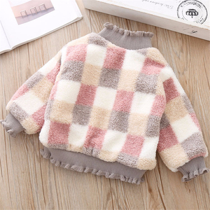 Image 3 - High Quality 1 5Y Girls Sweater for Children Clothes Winter Baby Kids Plaid Sweaters Plus Velvet Princess Pullover send Bag
