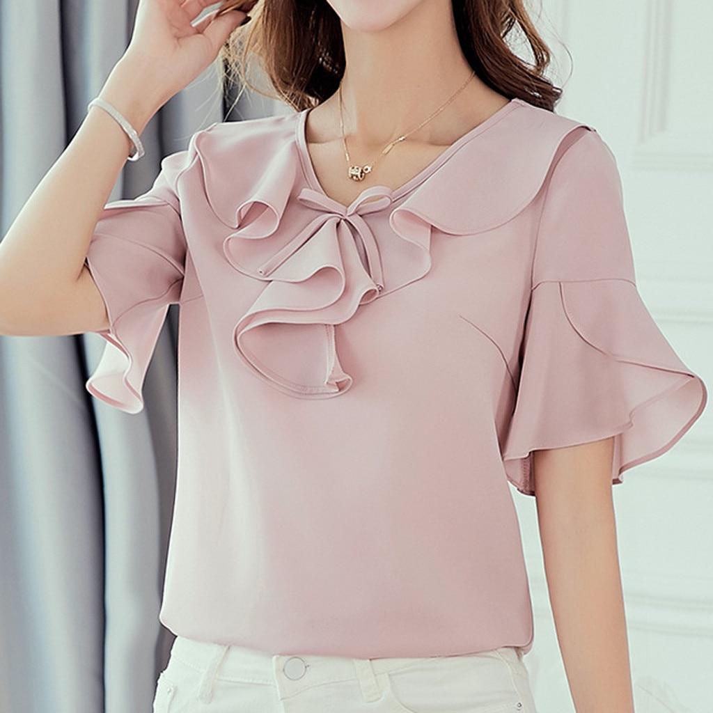 Women Summer Korean Shirt V-neck Short Sleeve Fashion Casual Chiffon Shirt Top High Quality Plus Size Tops Chemisier Femme
