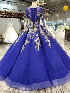 Image 2 - BGW 22010ht Royal Blau Abendkleid Oansatz Lange Tüll Ärmeln Bodenlangen Abendkleid Party Kleid Mit Glänzenden Spitze China Großhandel