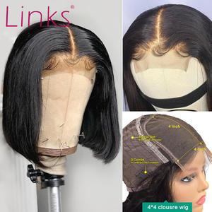 Links Closure-Wig Hair Human-Hair-Wigs Deep-Wave-Frontal Baby Straight Brazilian Black Women