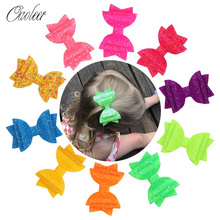 10 Pcs/Lot 3 Inches Glitter Hair Bows for Girls Shiny Barrettes Dance Party Hairpins Kids Swallow Tail Clips Accessory