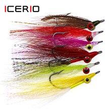 Icerio 10 pçs clouser minnow profundo streamers gancho de aço inoxidável moscas artificiais graves pesca de água salgada isca mosca