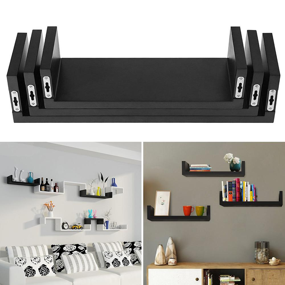 3pcs/set Floating Display Shelves Ledge Bookshelf Wall Mount Storage Home Wall Shelf Room Decor Organizer Black Book Holders