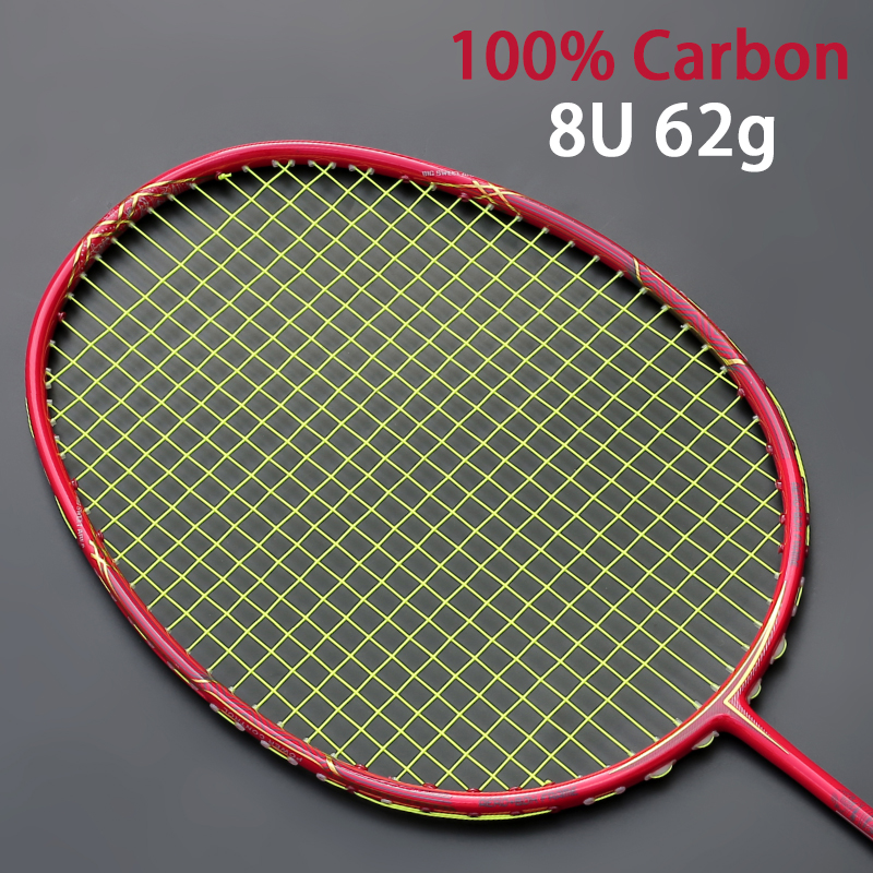 Super Light 8U 62-67g Professional Full Carbon Badminton Racket Ultralight Raquette 22-30 LBS Z-Speed Force Free String Bag