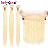 Brazilian 613 Blonde Straight Hair 3 Bundles With 360 Transparent Lace Frontal Pre Plucked Remy Human Hair Bundles Lucky Queen