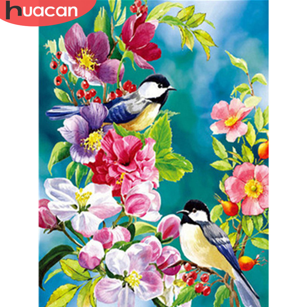 HUACAN Oil Paint By Numbers Bird Animals Kits Drawing Canvas HandPainted DIY Pictures Painting By Numbers Flower Home Decor
