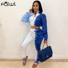 Fqlwl queda tie corante impressão streetwear dois 2 peça conjunto feminino sweatsuit colheita superior joggers calças conjuntos de correspondência roupas de treino