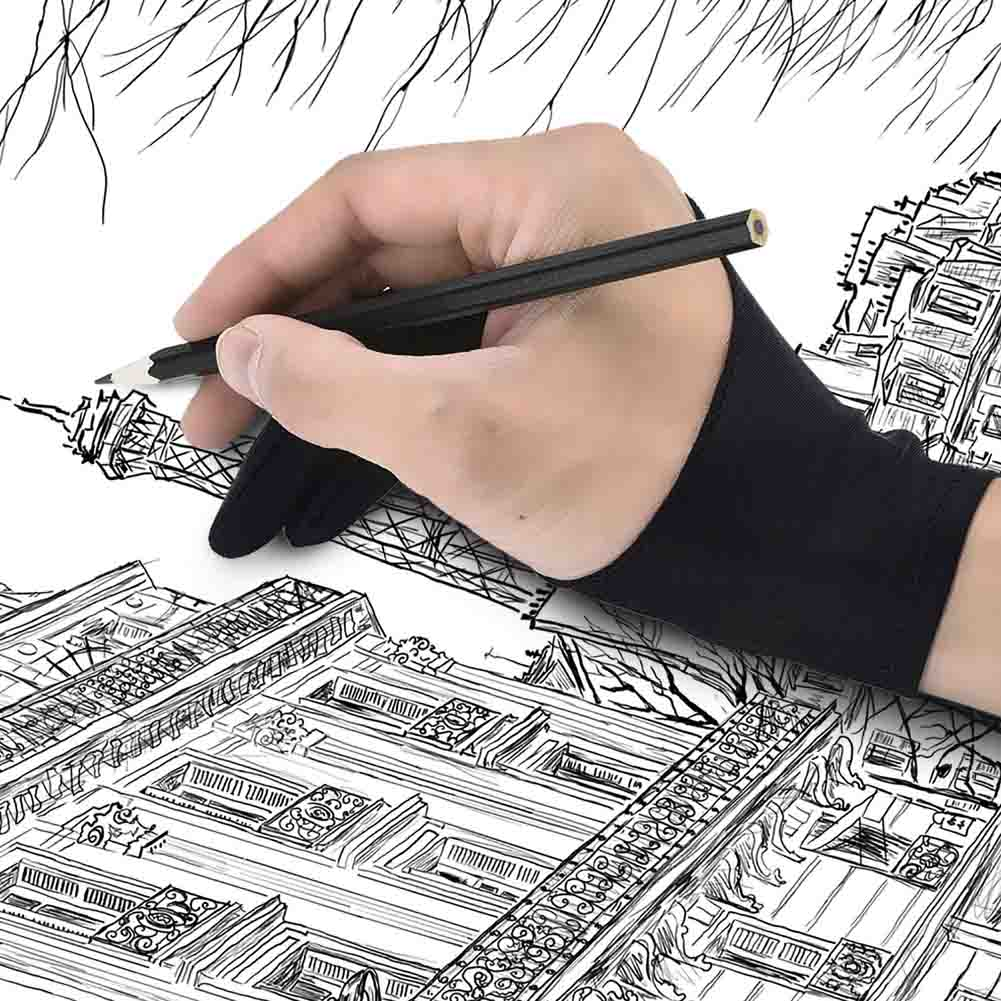Artist Glove For Drawing Black 2 Finger Painting Digital Tablet Writing Glove For Art Students Arts Lovers