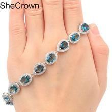 8x6mm Special London Blue Topaz CZ Womans Present Silver Bracelet  8.0-8.5in