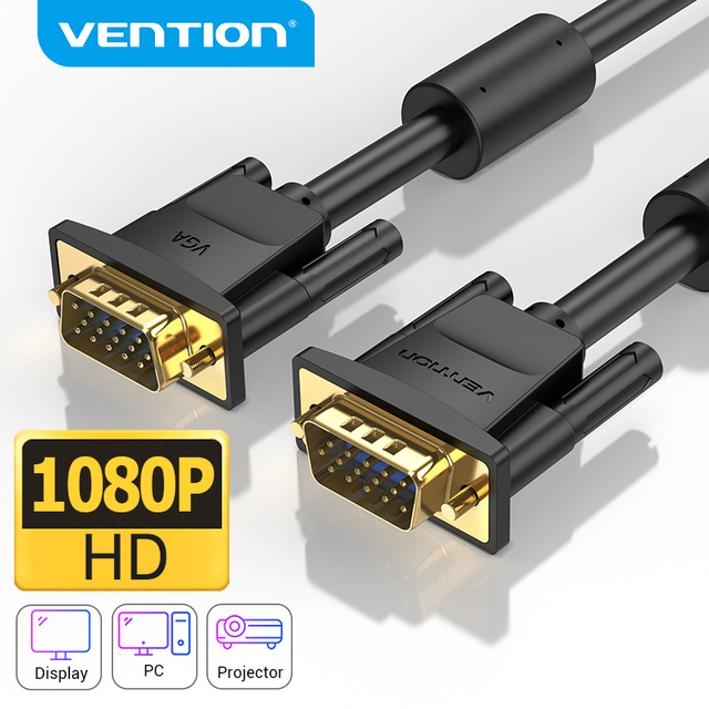 Vention kabel VGA VGA kabel męski do męskiego 1080P 15 Pin 1M 5M 10M pleciony przewód ekranujący do monitora projektor kabel PC VGA