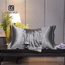 Lanlika Luxury Noble 100% Silk Gray Beauty Pillowcase Healthy Bed Pillow Case Healthy Pillow Cover Home Textile Free Shipping