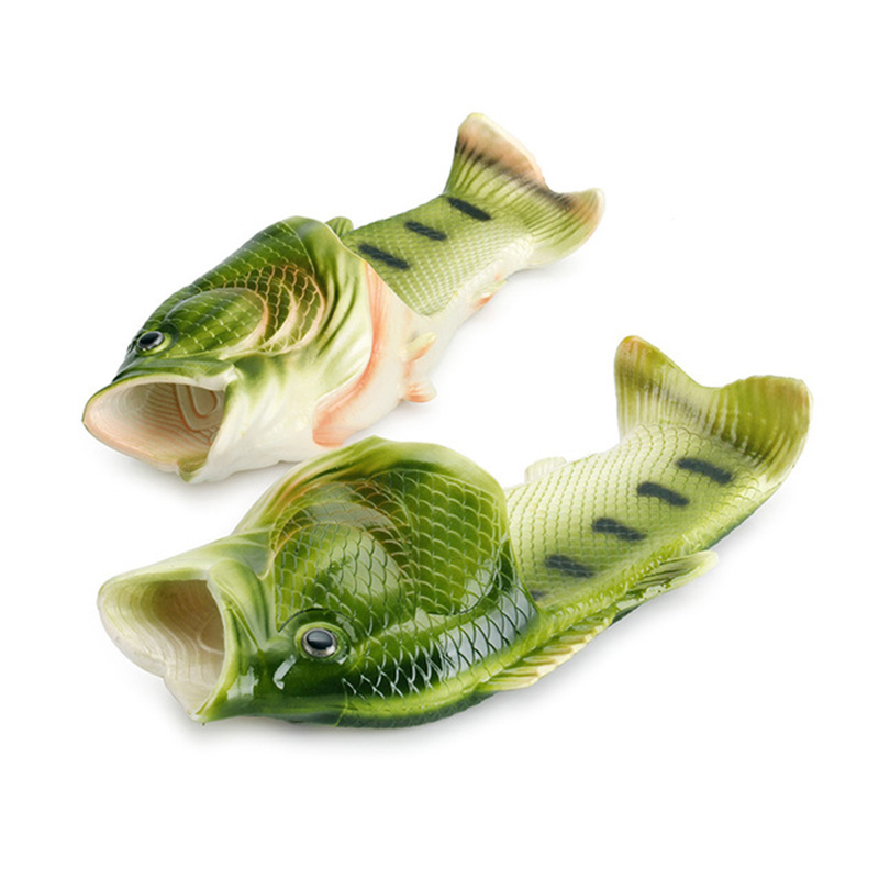 Fish Slippers Creative Funny Fish-Shaped Comfortable Word Drag Couple Summer Outdoor Sandals Men And Women Beach Trend Shoes