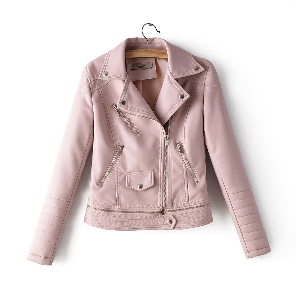 Taotrees Autumn Hem Zipper Detachable Locomotive   Leather   Jacket Women's coat