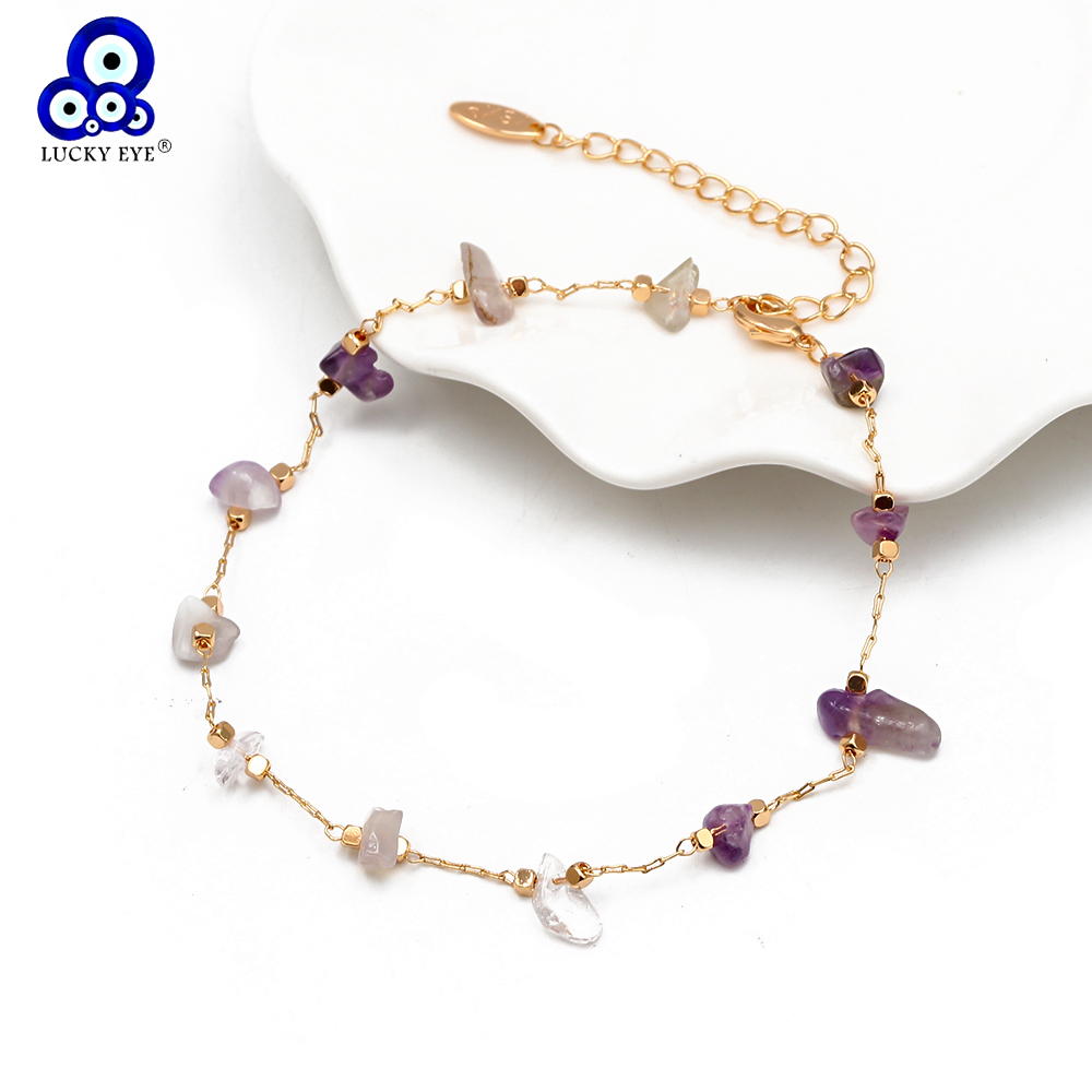 Lucky Eye Natural Stone Anklet Gold Color Leg Foot Chain Beach Ankle Bracelet Adjustable for Women Girls Fashion Jewelry BD92