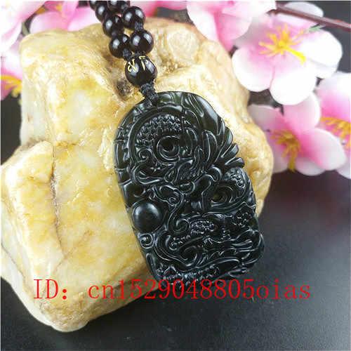 معتمد الصينية الطبيعية الأسود الأخضر اليشم قلادة على شكل تنين الخرز حلية قلادة مجوهرات حجر السج منحوتة تميمة هدايا للرجال