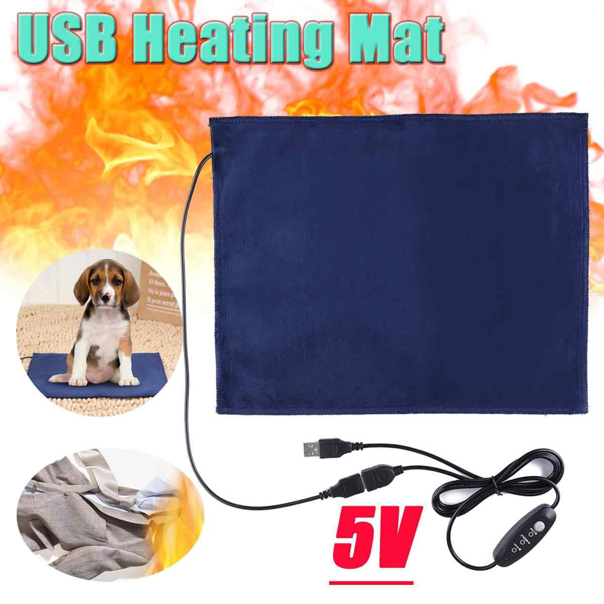 Heating Mat Pet 5V USB Electric Clothes Heater Sheet Winter Plush Pads Warmer Bed Pad Three Temperature Carbon Fiber Cat Dog Mat