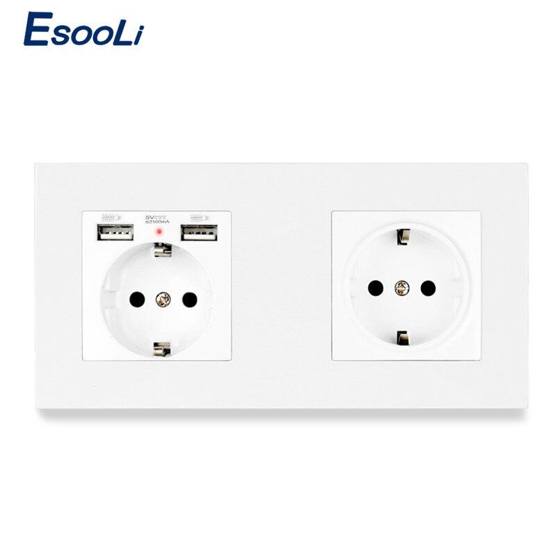 Esooli EU Standard Wall Socket Grounded With 2 USB Charge Port Hidden Soft LED + 1 Gang Wall Socket PC Panel White Black Gold
