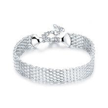 925 Sterling Silber Glück Armbänder Manschette Mode Weichen Armband Kette Armreif Frauen damen mädchen Schmuck geschenk Silber Pulseiras