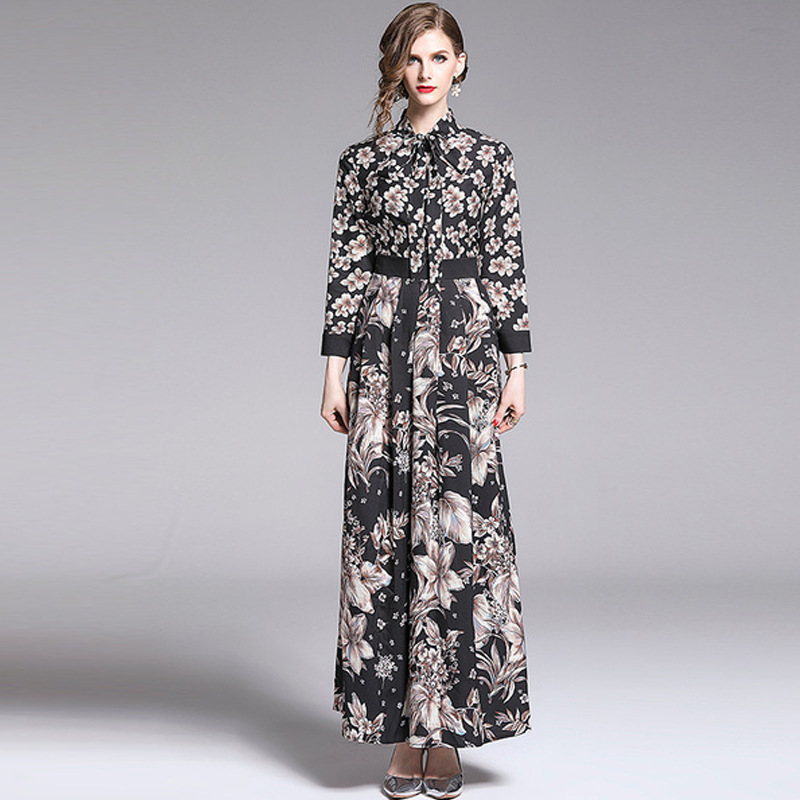 Autumn Long Skirts WOMEN'S Dress Bow Collar Black Powder Plum Printed Waist Hugging Long-sleeved Dress Long Slimming